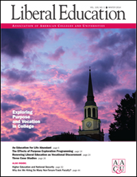 Liberal Education Winter 2014: Exploring Vocation &  Purpose
