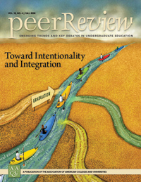 "Toward Intentionality and Integration; <em>Peer Review</em> single issue<br /> <font color =""red"">SOLD OUT!</font><br /> <a  href=""http://www.aacu.org/peerreview/documents/PRFall08.pdf""target=""_blank""><em>(full issue is available as a PDF)</em></a>"